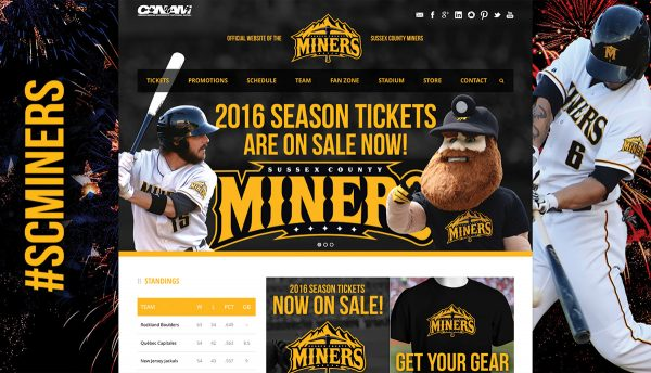 Website design and content creation for the Sussex County Miners professional baseball team.