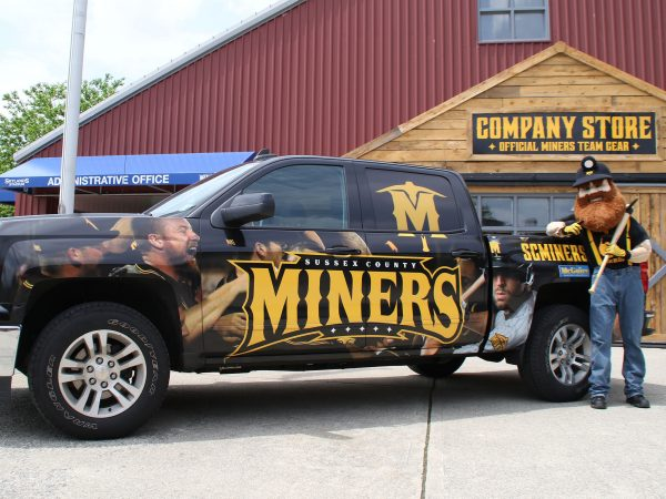 Custom truck wrap design for the Sussex County Miners professional baseball team. Design incorporates the…